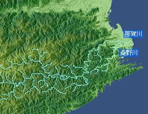 【図】那賀川と桑野川の位置