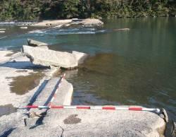 【写真】堤体中央部の破損状況