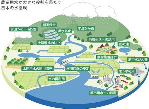 【図】農地や農業用水施設が発揮する多面的機能の例