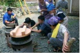 夏休み中の子ども達が里山でグリーンツーリズム体験【撮影:8月1日】