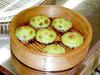 蒸しパンケーキ(くるみ入り抹茶味)