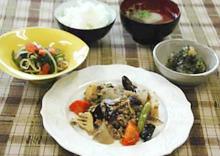 「根菜とひき肉のしぐれ煮定食」