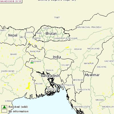 バングラデシュ発生地図
