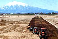 トラクターによる耕転作業