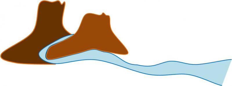 2、川が山から押し流してきた。