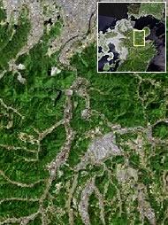 宇佐市院内町周辺の地形図