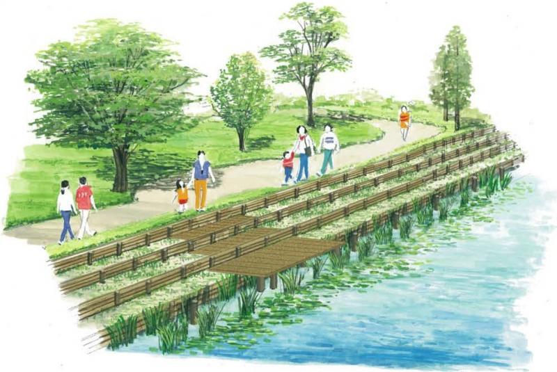 一部区間において親水・環境学習空間を計画している参考イメージ