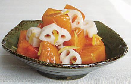 柿とれんこんの甘酢和え